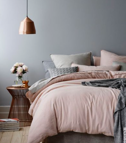 grey blush copper trend in bedroom