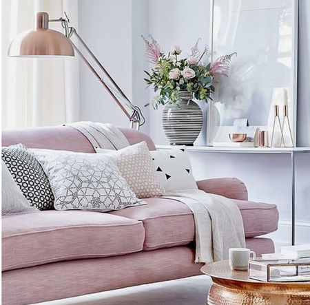 grey, blush & copper trend in living room