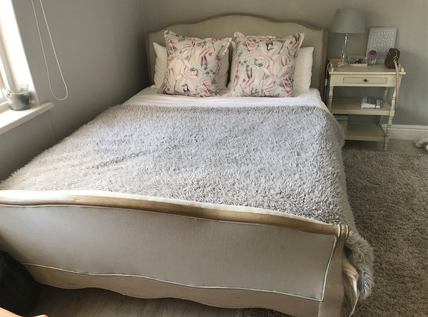Smokey Oak & Linen queen size bed