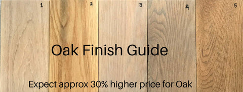 Finish guide displaying the different finishes of Solid Oak wood for bespoke tables, benches, sharing islands and other furniture made by vintage-etc in cape town. We make custom made & bespoke tables, benches, free-standing kitchen islands, desks, media units & wardrobes in our Cape Town & Johannesburg workshops - using Oak, Oregon, Ash, Beech, Birch Ply & Meranti. We also sell imported furniture, provide design consulting services & make soft furnishing e.g. sofas & upholstered chairs in linen, velvet & stain resistant fabric -