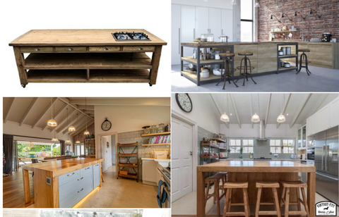 4 post collage with pictures of bespoke Solid Oak/reclaimed Oregon sharing islands - with shelving and drawers for storage and 2 with inset butchers blocks, made by vintage-etc in cape town. We make custom made & bespoke tables, benches, free-standing kitchen islands, desks, media units & wardrobes in our Cape Town & Johannesburg workshops - using Oak, Oregon, Ash, Beech, Birch Ply & Meranti. We also sell imported furniture, provide design consulting services & make soft furnishing e.g. sofas & upholstered chairs in linen, velvet & stain resistant fabric