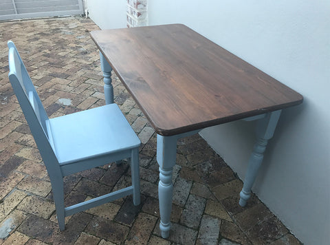 Wooden desk with chair - painted blue