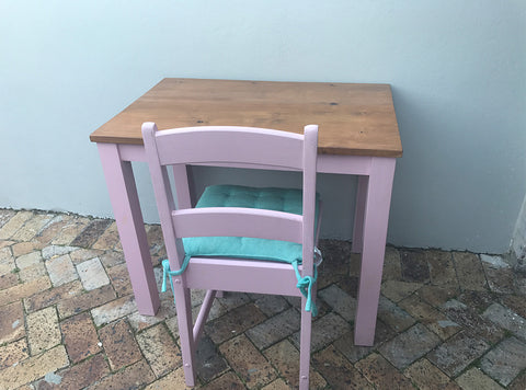 Wooden desk and chair -painted pink