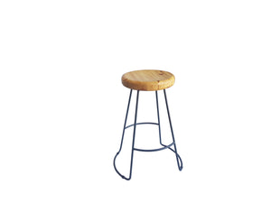 Metal Bar Stool - Round Wooden Seat