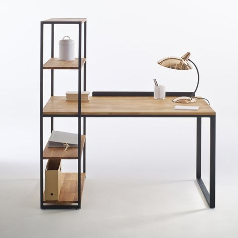 Space saving home study desk with integrated bookshelf, made from reclaimed wood and metal
