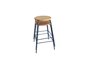 Stacking Barstool - Round Wooden Seat