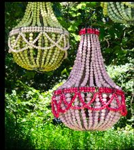 Stone Ball Pink and green Frill Chandelier