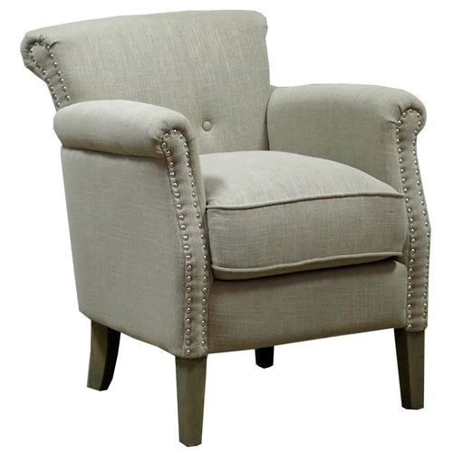 Stone Linen/Cotton armchair with studs