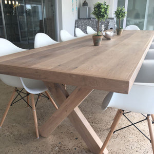 Cross leg oak dining table
