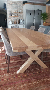 Cross Leg Solid Oak Table (70mm top)