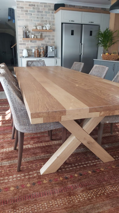 Valley Cross Leg Solid Oak Table -70mm Top