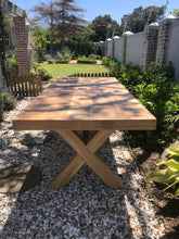 Framed Border Cross Leg Table and Benches