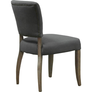 Lacale Dining Chair - Grey Linen & Oak Legs - back