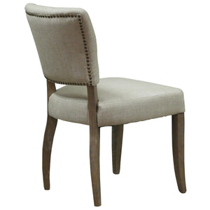 Lacale Dining Chair - Natural Linen & Oak Legs - back