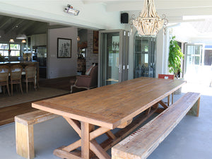 Farmhouse 12 Seater Table on patio