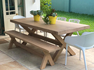 Frank Solid Top Cross Leg Table and benches