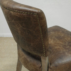 Vintage Leather Dining Chair close up