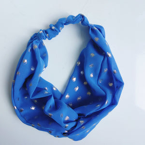 Head Bands - Hand Made - Royal Blue Gold Polka Dot