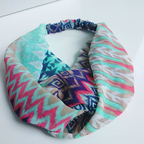 Head Bands - Hand Made - Aqua Aztec