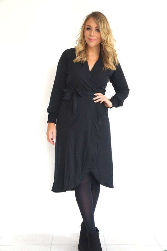 The Cuff Sleeves Wrap Dress - Midnight Black - Midi