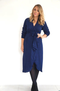 The Cuff Sleeves Wrap Dress - Navy Blue - Midi