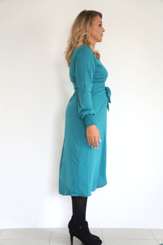The Cuff Sleeves Wrap Dress - Teal - Midi