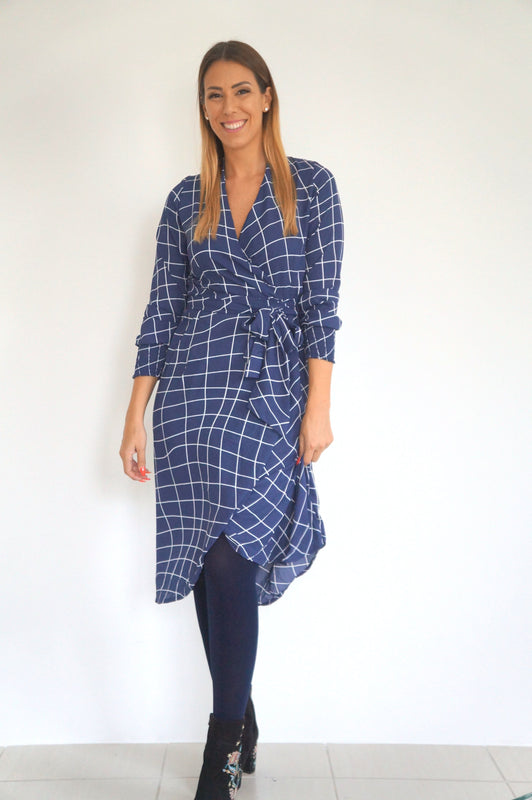 The Cuff Sleeves Wrap Dress - Navy White Check - Midi