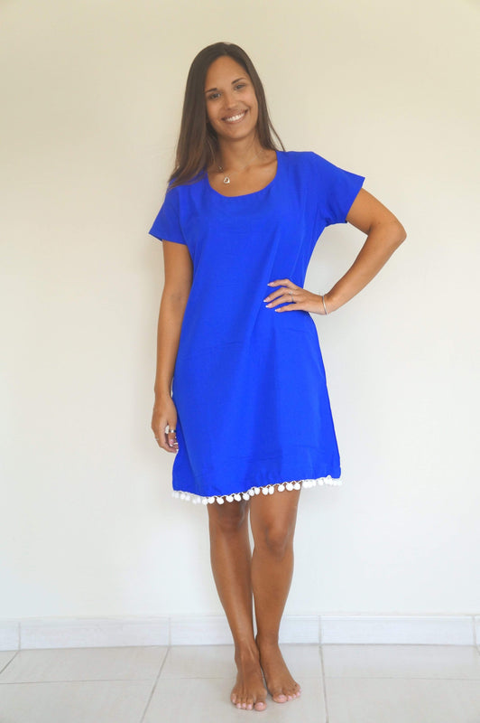 The Mini Anywhere Dress - Royal Blue with White pom-poms
