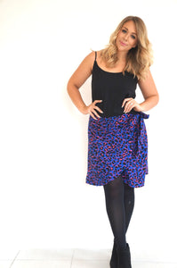 The Ruffle Wrap Skirt - Deep Blue, Hot Pink Animal - Short