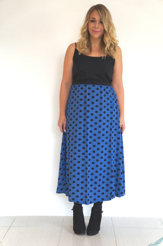The Joss Maxi Skirt - Deep Blue, Black Spots - Black Waist Band