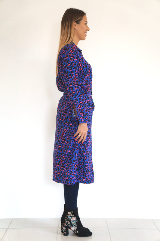 The Midi Shirt Dress - Royal Blue, Hot Pink Animal