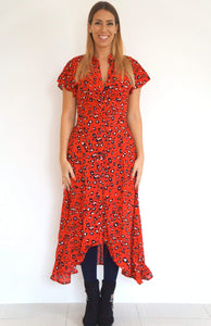 The Fitted Shirt Dress - Red Animal