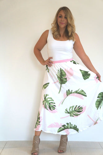 The Joss Maxi Skirt - White & Pink Palm - Pure White Waist Band