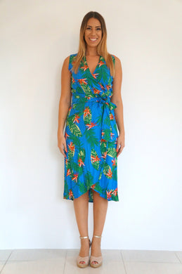 The Sleeveless Wrap Dress - Royal Blue Tropical - Midi
