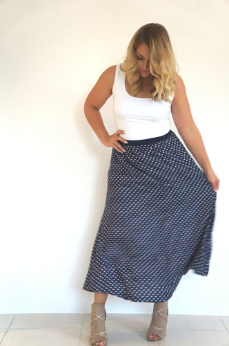 The Joss Maxi Skirt - Navy, Mini White Polka Dot - Navy Waist Band