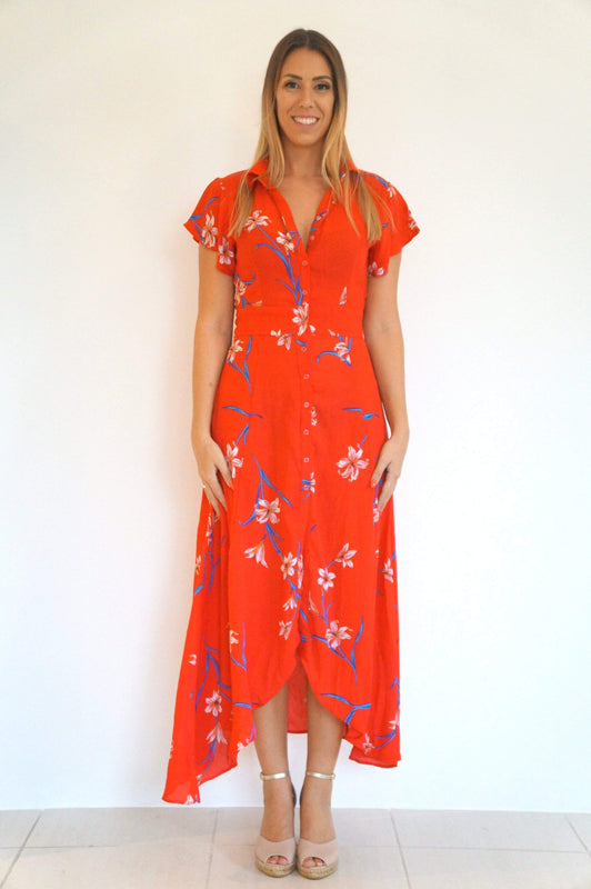 The Fitted Shirt Dress - Red Tropical - Long