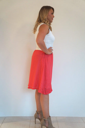 The Rosie Midi Skirt - Coral - Pure White Waist Band