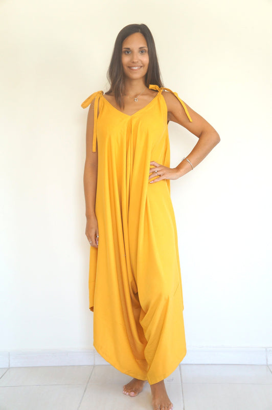 The Harem Jumpsuit - Mustard Yellow Cotton Rayon