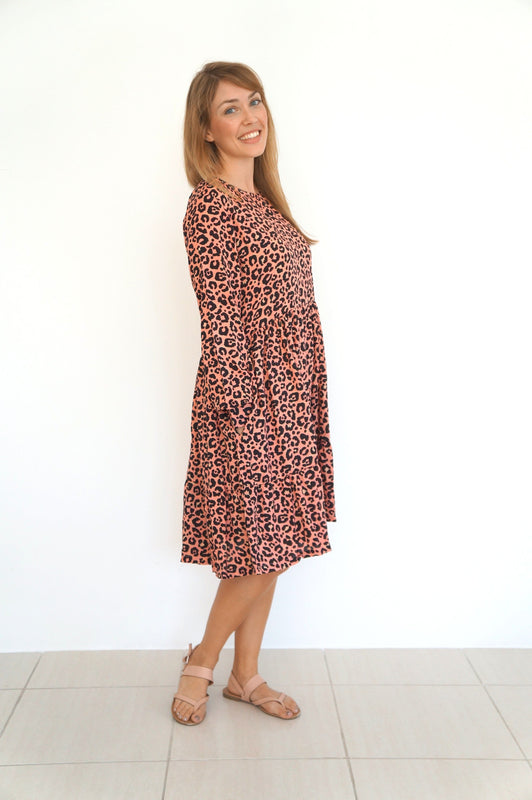 The Marina Dress - Coral Leopard