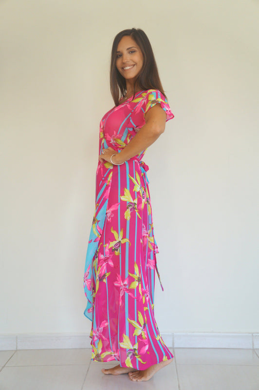 The Wrap Dress - Pink & Turquoise Tropical