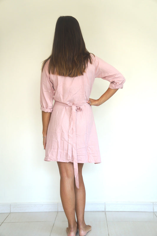 The Flirty Ruffle Wrap Dress - Dusty Pink - Short