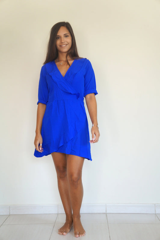 The Flirty Ruffle Wrap Dress - Royal Blue -