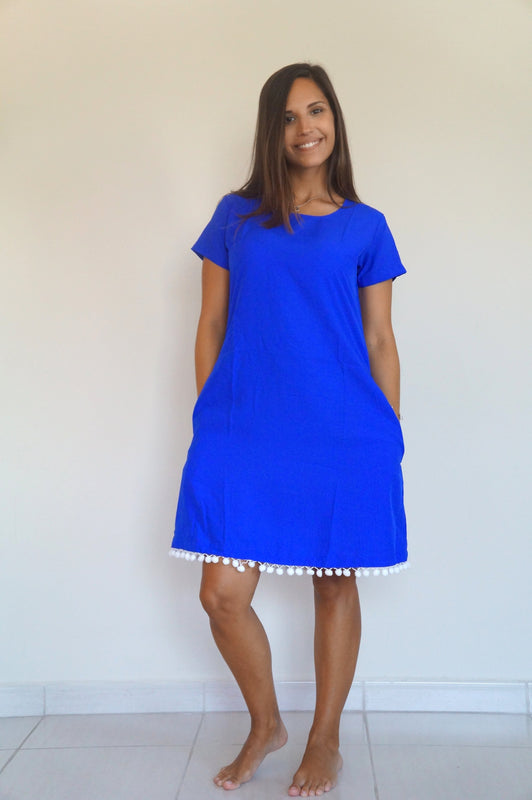 The Anywhere Dress - Royal Blue, White Pom-Poms