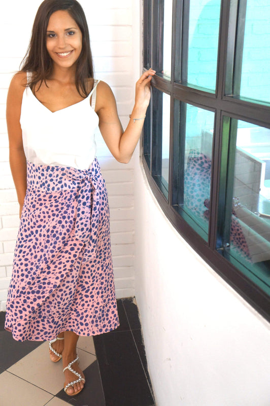The Ruffle Wrap Skirt - Pink & Navy Smudge