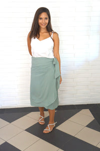 The Ruffle Wrap Skirt - Perfect Khaki
