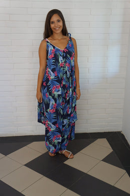 The Harem Jumpsuit - Navy Blue Tropical