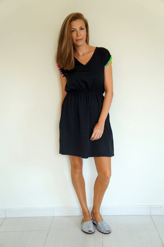 Elastic Tank Dress - Black