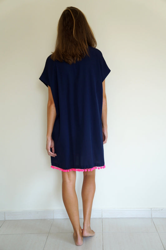 Fitted Kaftan - Navy Blue