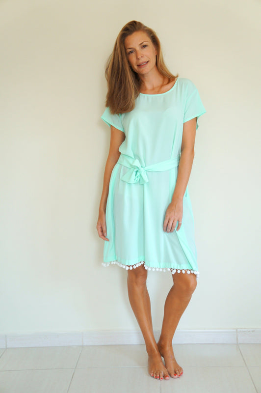 The Anywhere Dress - Aqua with white pom-poms