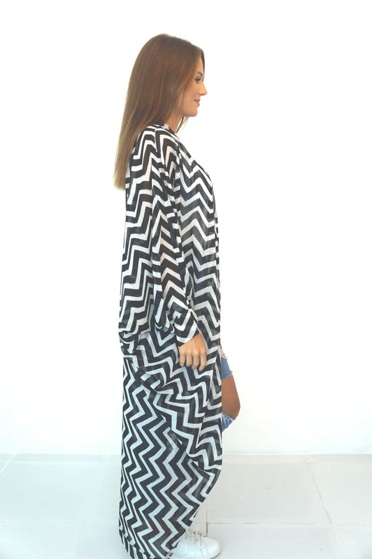 The Palm Kimono - Black & White Painted Chevron